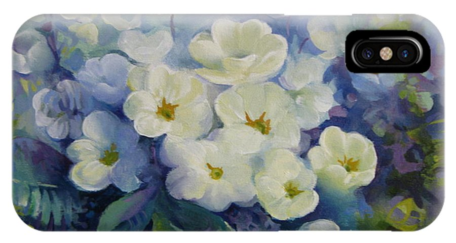 Primrose IPhone X / XS Case featuring the painting Spring by Elena Oleniuc
