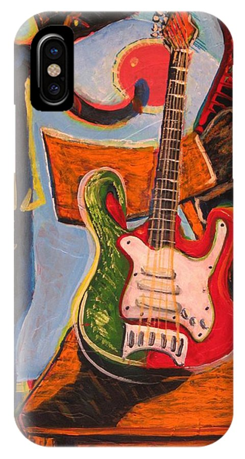 Abstract IPhone X Case featuring the painting Still Life On The Go-go by Dennis Tawes