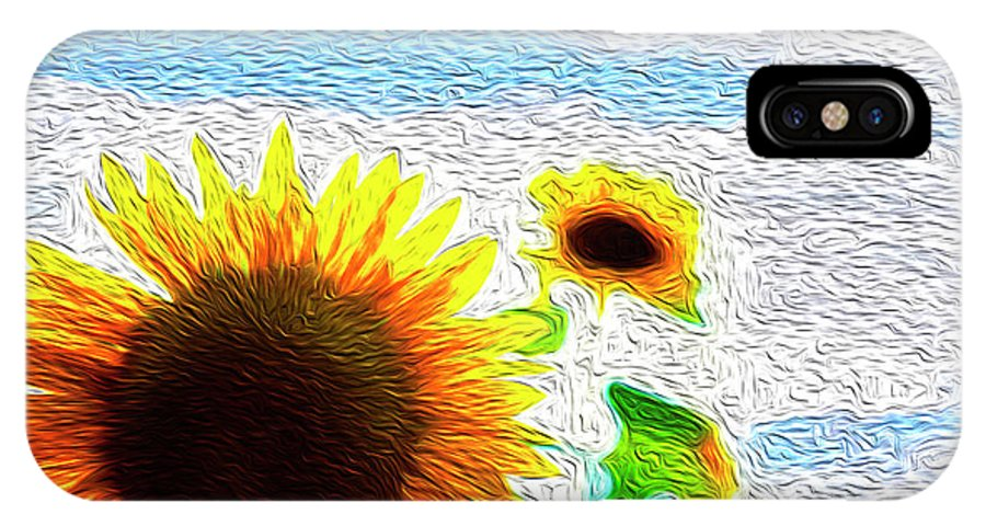 Beautiful IPhone X Case featuring the digital art Sunflowers Abstract by Les Cunliffe