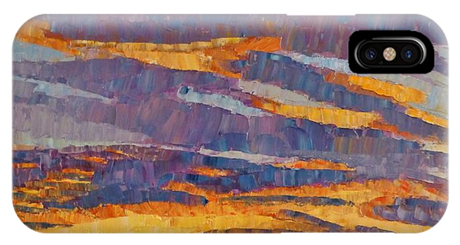 Sunset IPhone X Case featuring the painting Sunset On Paseo by Susan Tormoen