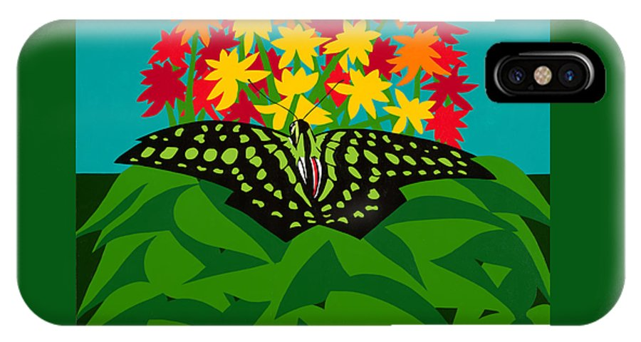 Butterflies IPhone X Case featuring the painting Tailed Jay by Synthia SAINT JAMES
