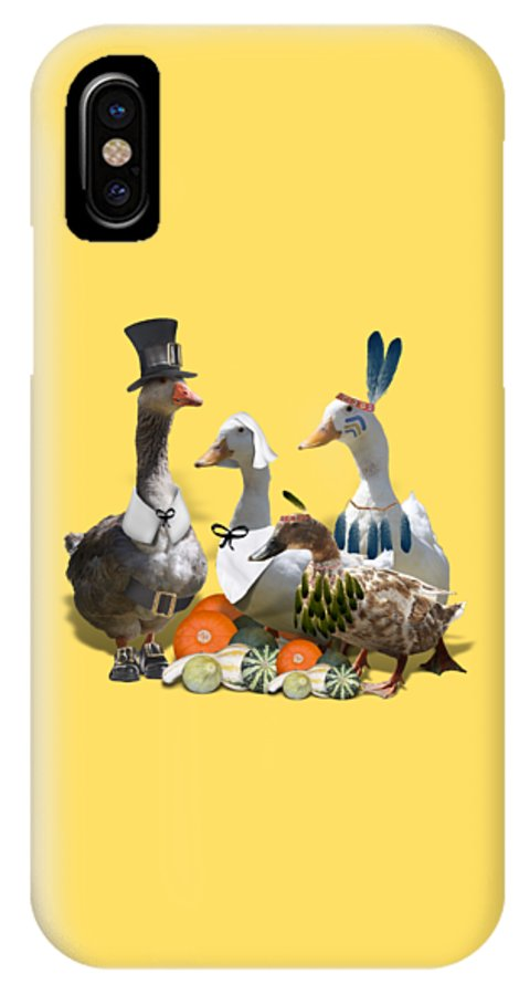 Thanksgiving IPhone X Case featuring the mixed media Thanksgiving Ducks by Gravityx9 Designs