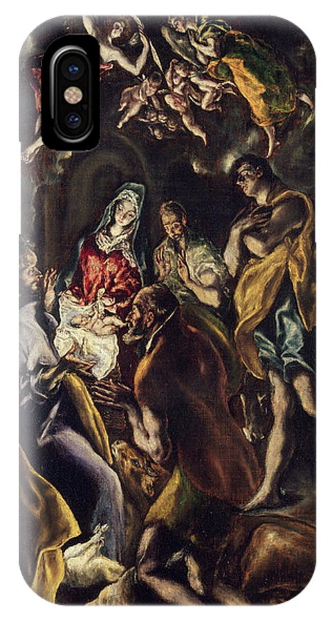 Adoration IPhone X Case featuring the painting The Adoration Of The Shepherds by El Greco