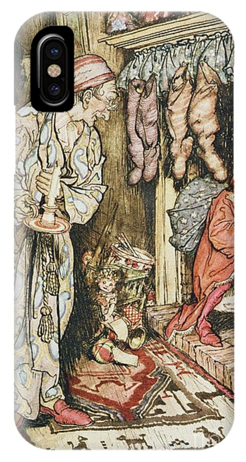 Xmas IPhone X Case featuring the drawing The Night Before Christmas by Arthur Rackham
