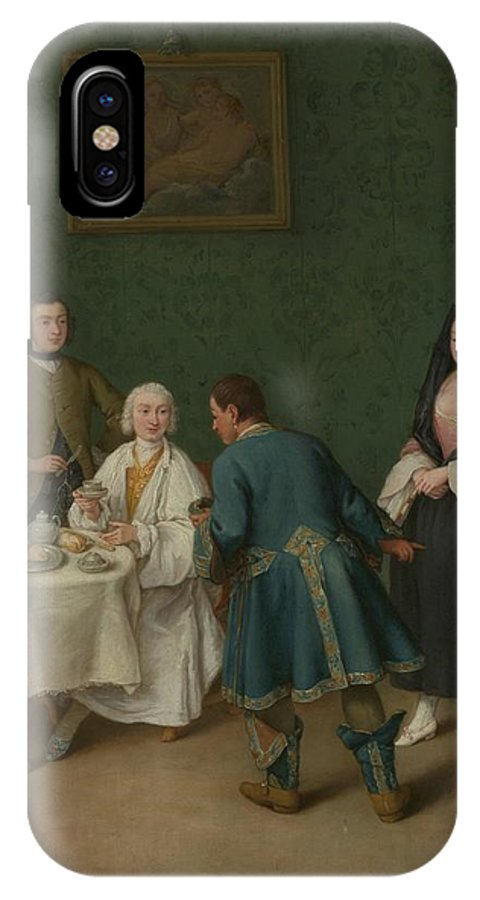 Pietro Longhi The Temptation IPhone X Case featuring the painting The Temptation by Pietro Longhi