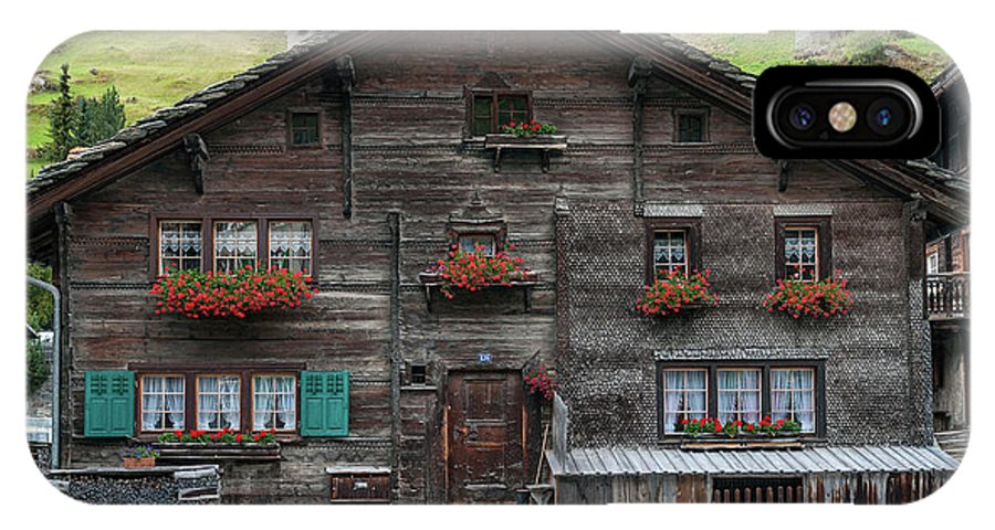 Alpine IPhone X Case featuring the photograph Traditional Swiss Alps Houses In Vals Village Alpine Switzerland by Jacek Malipan