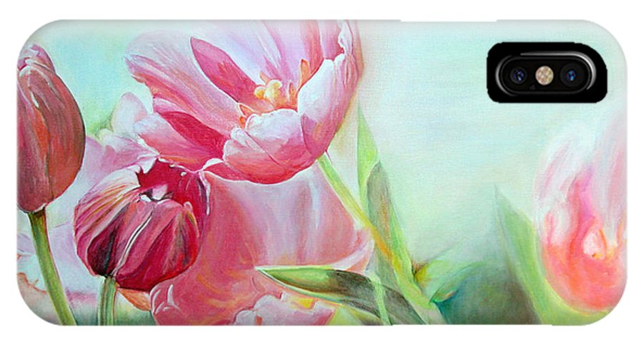 Floral Painting IPhone Case featuring the painting Tulipes by Muriel Dolemieux