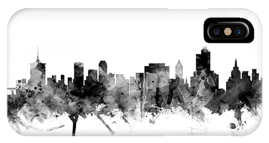 united States IPhone X Case featuring the digital art Tulsa Oklahoma Skyline by Michael Tompsett