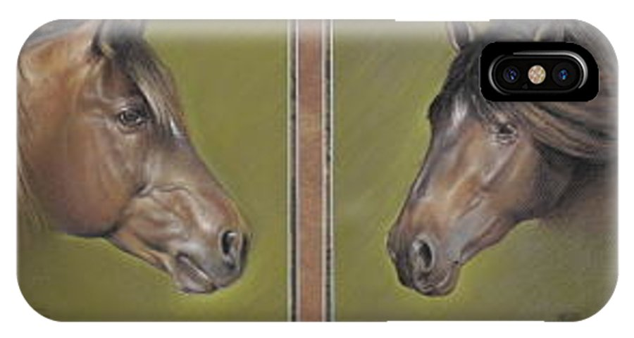 Horses IPhone X Case featuring the pastel Two Stars by Mahto Hogue