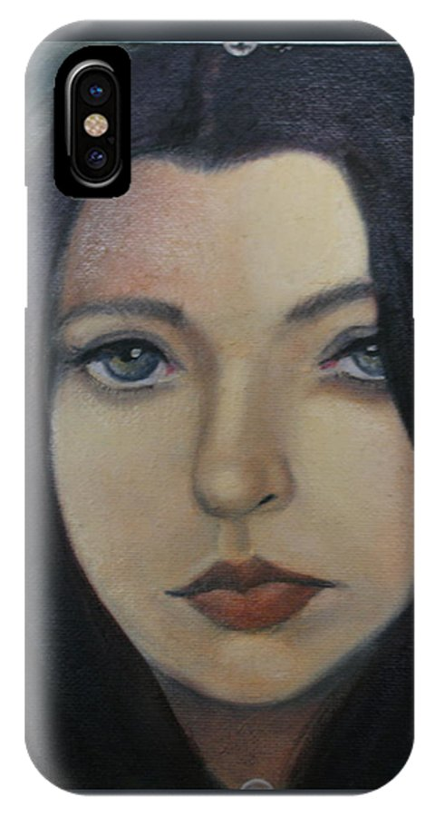 Girl IPhone X Case featuring the painting That Stare by Toni Berry