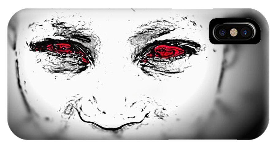 Eyes Face Looks Black And White Red IPhone X / XS Case featuring the digital art Untitled by Veronica Jackson