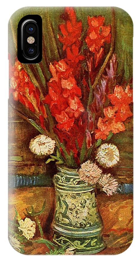 Vincent Van Gogh IPhone X Case featuring the painting Vase With Red Gladioli by Vincent Van Gogh