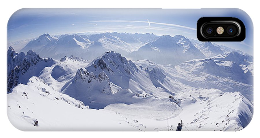 View IPhone X Case featuring the photograph View From Summit Of Valluga, St Saint Anton Am Arlberg Austria by Peter Barritt