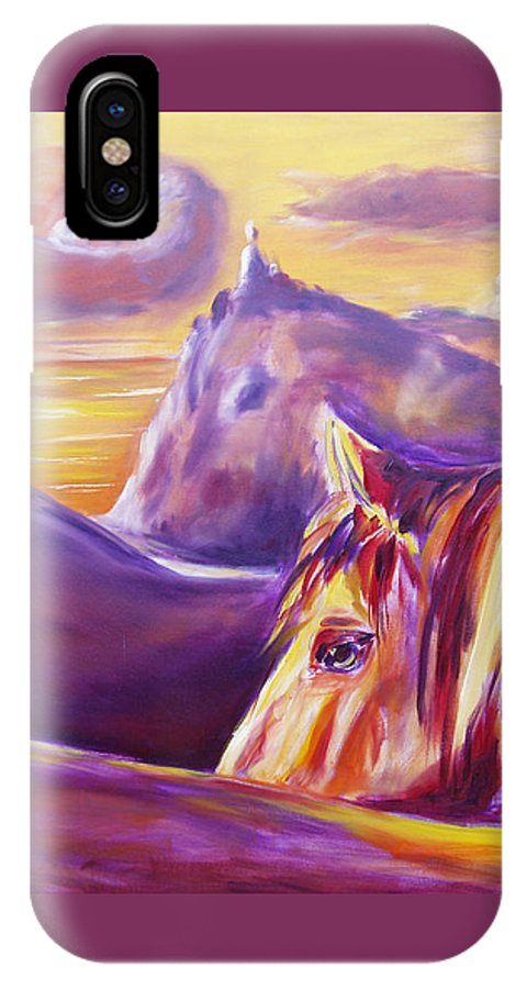 Horses IPhone X Case featuring the painting Horse World by Gina De Gorna