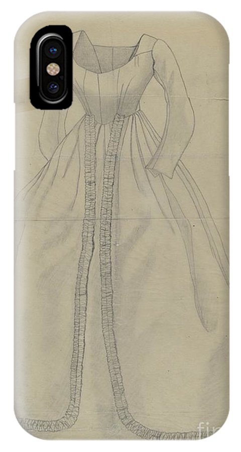 IPhone X Case featuring the drawing Wedding Dress by Mary E. Humes