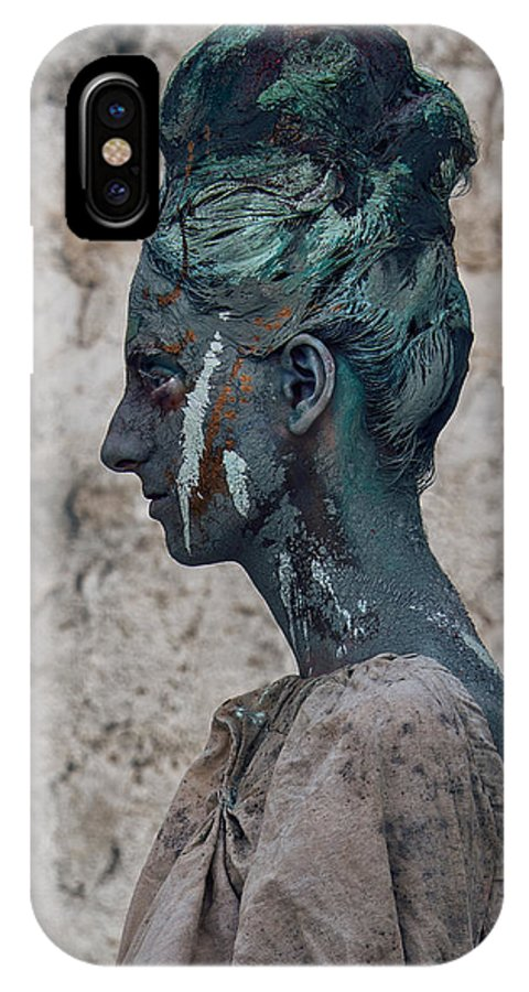 Antik IPhone X Case featuring the photograph Woman In Bronze Statue Look With Patina Body Paint by Veronica Azaryan
