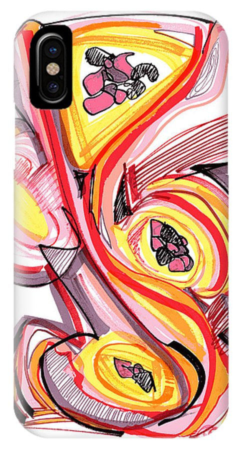 Abstract Art IPhone X Case featuring the drawing 2010 Abstract Drawing Nine by Lynne Taetzsch
