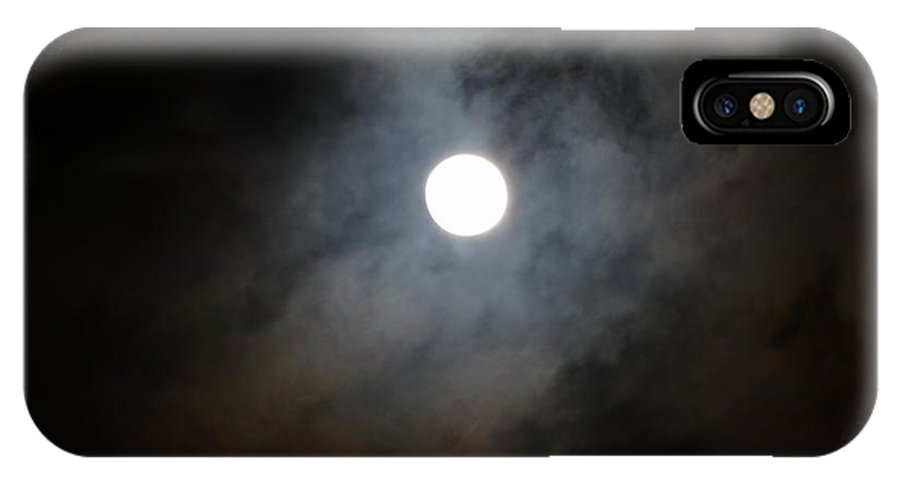 Moon IPhone X Case featuring the photograph Moon And The Clouds by Explorer Lenses Photography