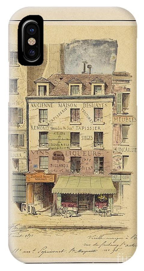 Drawn To Paris - Sketch Record Of Paris Buildings & Street Scenes From The 2nd Half Of The 19th Century - Rue Lepic � Montmartre - Entr�e Du Moulin Debray (bal Public) (1880) IPhone X Case featuring the painting Drawn To Paris by Celestial Images