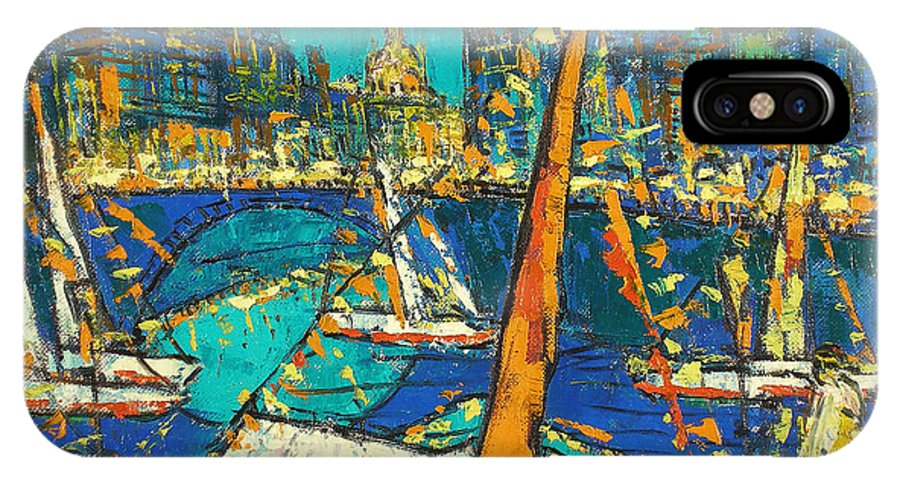 Bay IPhone X Case featuring the painting City by Robert Nizamov