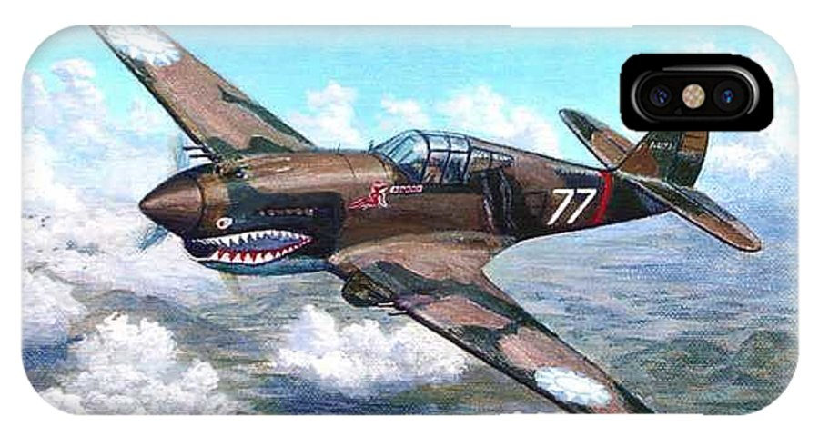 R. T. Smith's Number 77 Over Kunming IPhone X Case featuring the painting Flying Tiger over China by Scott Robertson