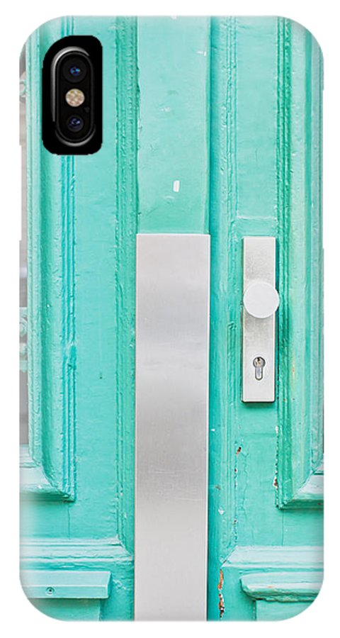 Access IPhone X / XS Case featuring the photograph Blue Door by Tom Gowanlock