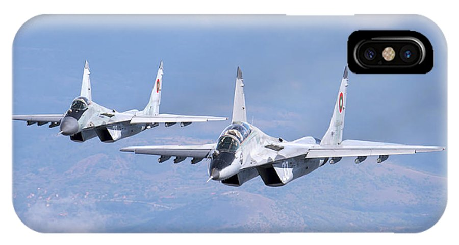 Horizontal IPhone X Case featuring the photograph A Pair Of Bulgarian Air Force Mig-29s by Daniele Faccioli