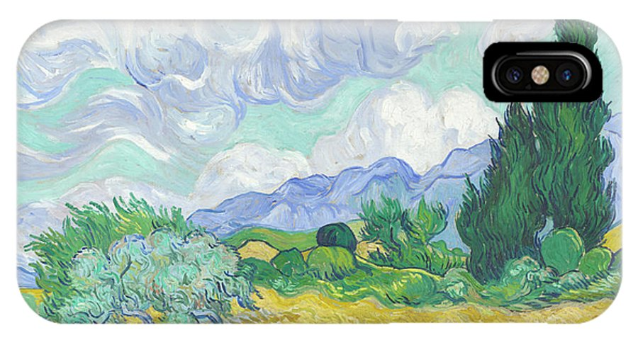 Vincent Van Gogh IPhone X Case featuring the painting A Wheatfield With Cypresses by Vincent van Gogh