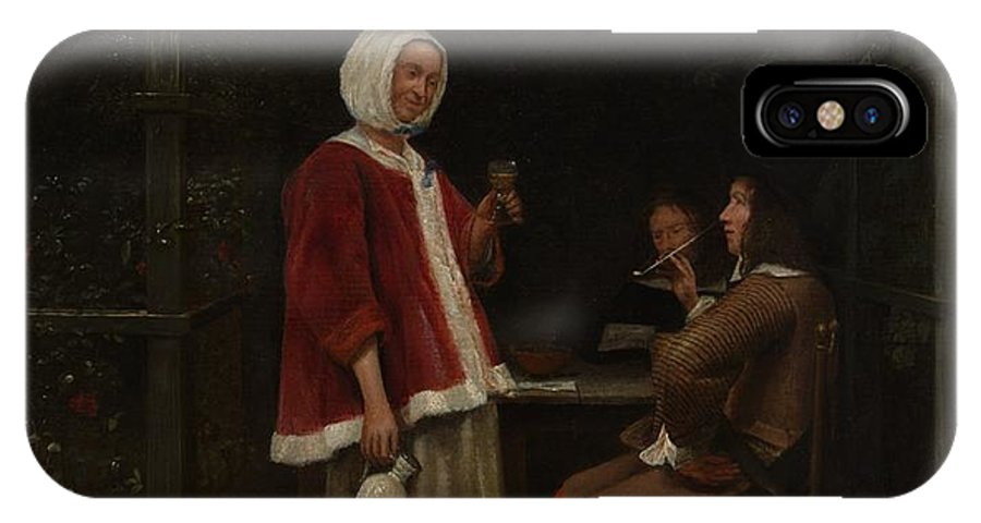 Pieter De Hooch A Woman And Two Men In An Arbor IPhone X Case featuring the painting A Woman And Two Men In An Arbor by Pieter de Hooch