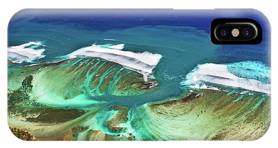 Mauritius IPhone X Case featuring the photograph Aerial View Of The Underwater Channel. Mauritius by MotHaiBaPhoto Prints
