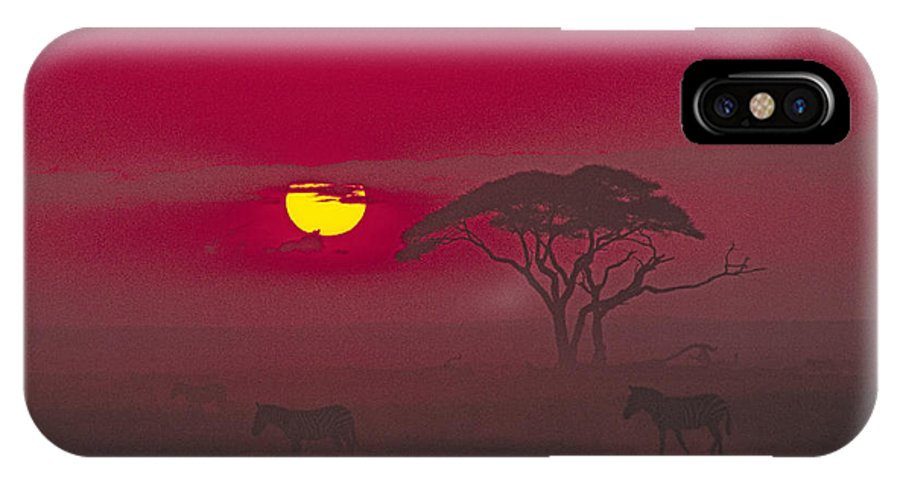 Africa IPhone X Case featuring the photograph African Sunrise by Michele Burgess