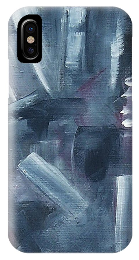 Abstract IPhone X Case featuring the painting After Hours by Karen Day-Vath