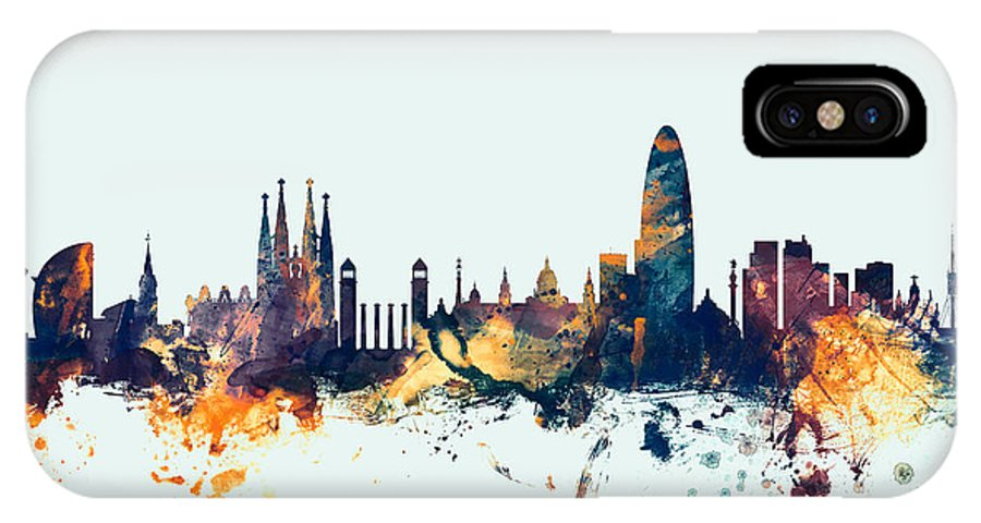 Barcelona IPhone X Case featuring the digital art Barcelona Spain Skyline by Michael Tompsett