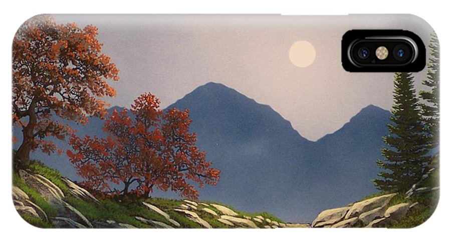 Mountains IPhone X Case featuring the painting By The Light Of The Moon by Frank Wilson