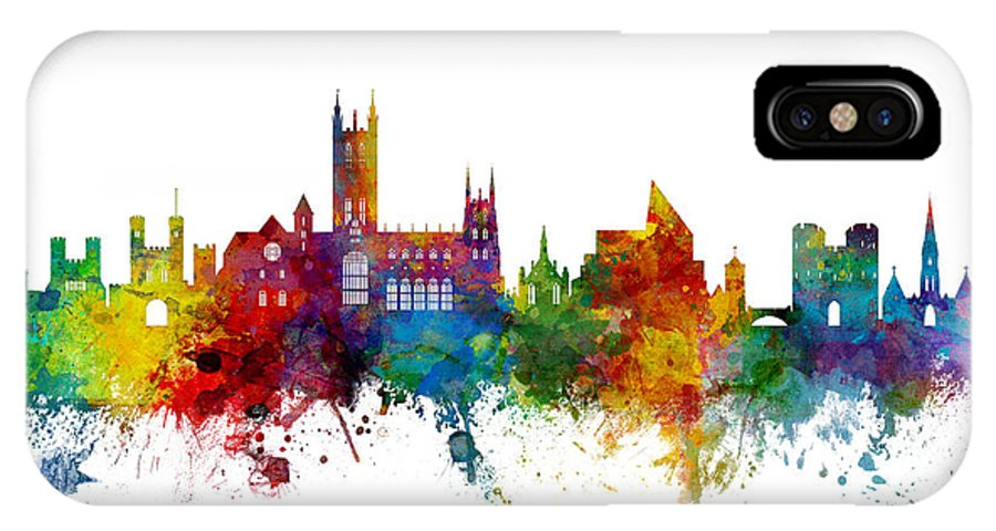 City IPhone X Case featuring the digital art Canterbury England Skyline by Michael Tompsett