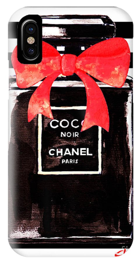 Chanel Perfume Poster IPhone X Case featuring the painting Chanel Noir Perfume by Del Art