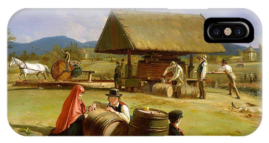 William Sidney Mount IPhone X Case featuring the painting Cider Making by William Sidney Mount