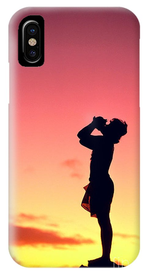 Aloha IPhone X Case featuring the photograph Conch Shell Blower by William Waterfall - Printscapes