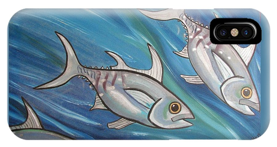 Sea IPhone X Case featuring the painting 3 Fish by Joan Stratton