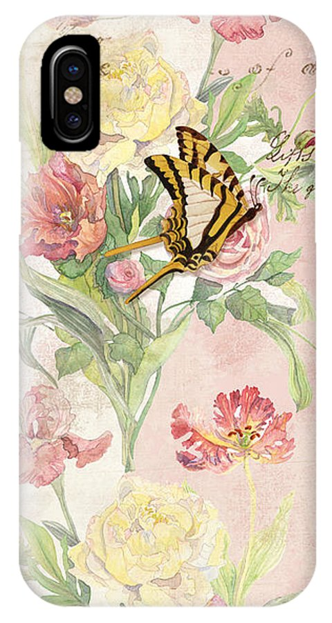 Butterfly IPhone X Case featuring the painting Fleurs De Pivoine - Watercolor W Butterflies In A French Vintage Wallpaper Style by Audrey Jeanne Roberts