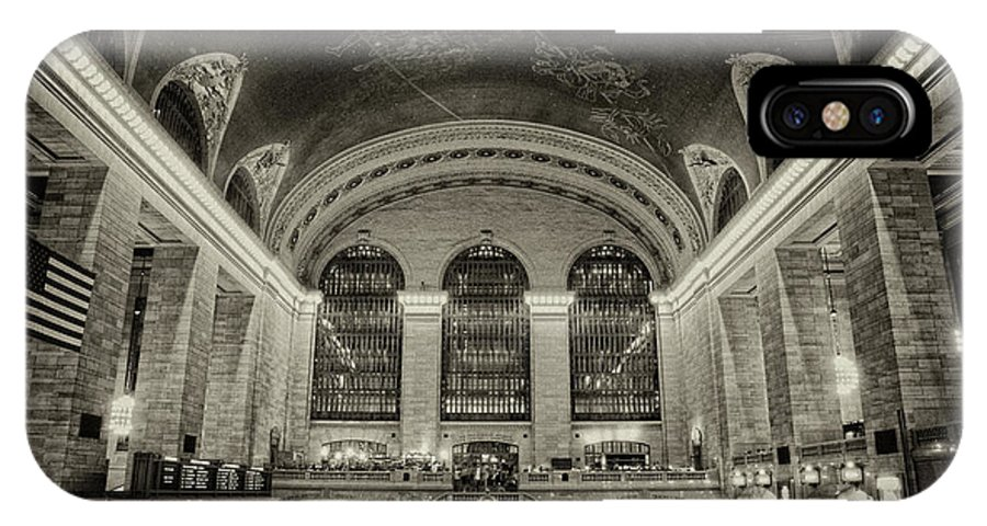 Black & White IPhone X Case featuring the photograph Grand Central by Eric Ferrar