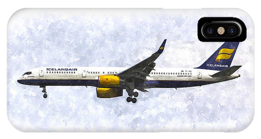 Iceland IPhone X Case featuring the photograph Icelandair Boeing 757 Art by David Pyatt