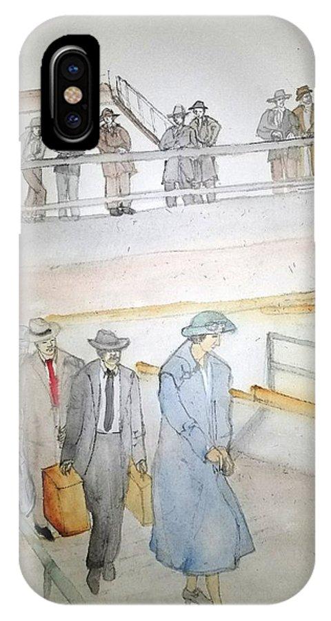 Italian. Immigrants. Arrive. Ellis Island IPhone X Case featuring the painting Italians Ellis Island Prohibition Album by Debbi Saccomanno Chan