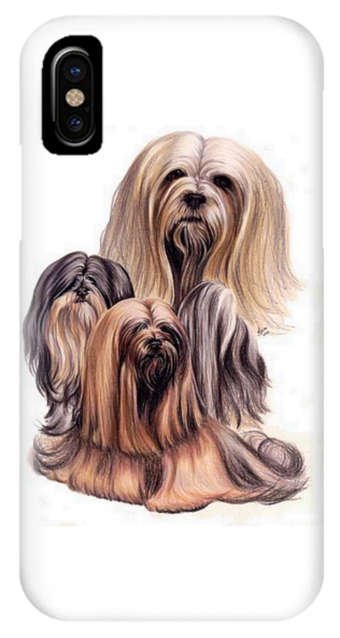 Purebred IPhone X / XS Case featuring the drawing Lhasa Apso Triple by Barbara Keith