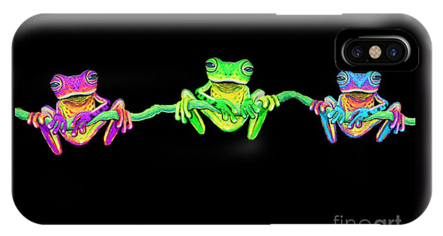 3 Little Frogs IPhone X Case featuring the painting 3 Little Frogs by Nick Gustafson