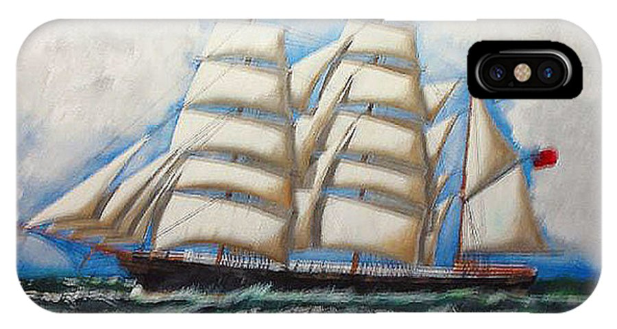 Tall Ship IPhone X Case featuring the painting 3 Master Tall Ship by Richard Le Page