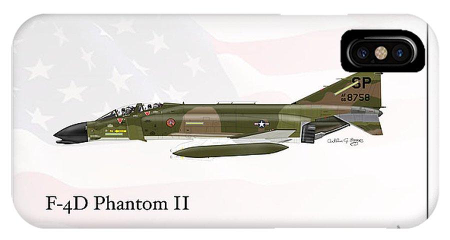 Mcdonnell Douglas IPhone X Case featuring the digital art Mcdonnell Douglas F-4d Phantom II by Arthur Eggers
