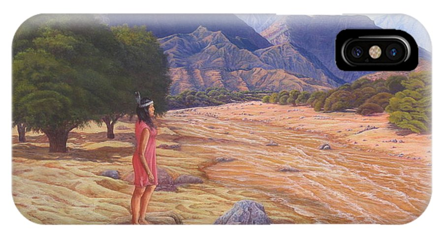 Landscape IPhone X Case featuring the painting Nawaja Inat The Legend Of The Water by Juan Enrique Marquez