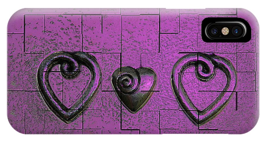 Abstracts Pink Purple IPhone X Case featuring the photograph 3 Of Hearts by Linda Sannuti