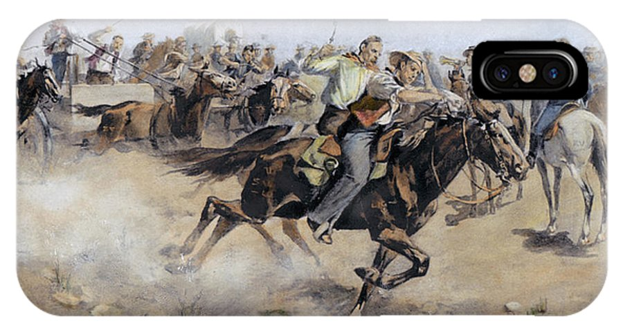 1890 IPhone X Case featuring the photograph Oklahoma Land Rush, 1889 by Granger